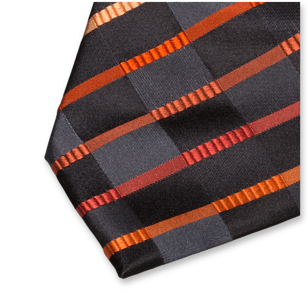 Cravate à Motifs Noir-Orange - Soie (2)