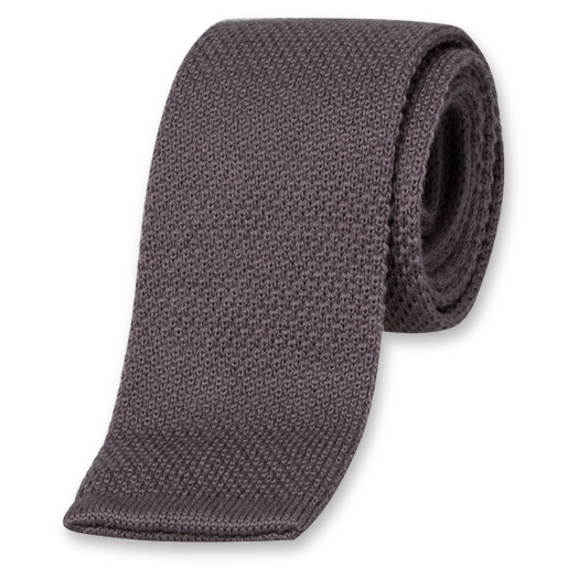Cravate Tricot Anthracite - Laine (1)