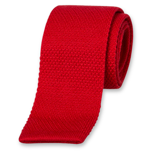 Cravate Tricot Rouge - Laine (1)