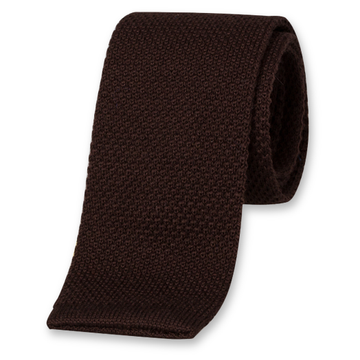 Cravate Tricot Marron - Laine (1)
