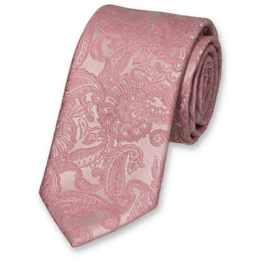 Cravate Paisley Rose Pastel - Soie (1)