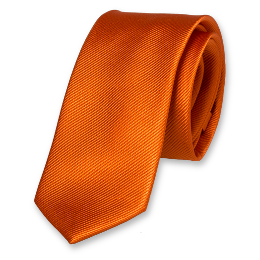 Cravate Slim Orange Foncé - Soie (1)