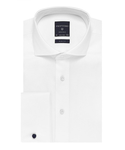 Profuomo Chemise - Two Ply - Blanc - Slim Fit - Twill - Double Cuff (1)