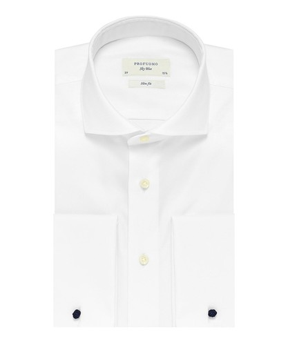 Profuomo Chemise - Blanc - Slim Fit - Royal Twill - Double Cuff (1)