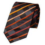 Cravate à Motifs Noir-Orange - Soie - Thumbnail 1