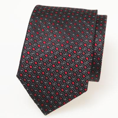 cravate noire rouge motif fantaisie tiss cravates shop. Black Bedroom Furniture Sets. Home Design Ideas